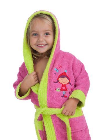 Interbaby детски халат за момиче, циклама