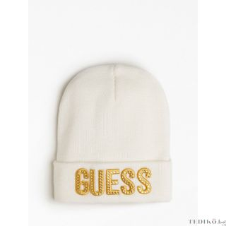 Guess зимна детска бяла шапка за момиче с лого