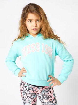 Детско синьо хууди с качулка и плюшен надпис Guess