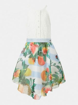 Guess детска рокля с бяла дантела и пола от шифон
