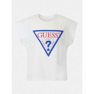 Guess детска бяла тениска с камъни