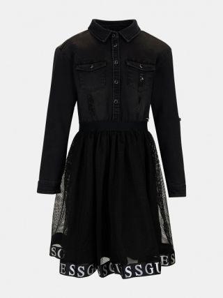 Детска рокля с мрежеста пола с надписи Guess