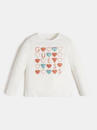 Guess детска блуза за момиче със сърчица