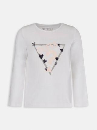 Guess Детска бяла блуза с дълъг ръкав за момиче с лого