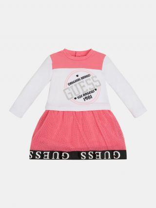 Детска рокля с мрежа и надпис Guess