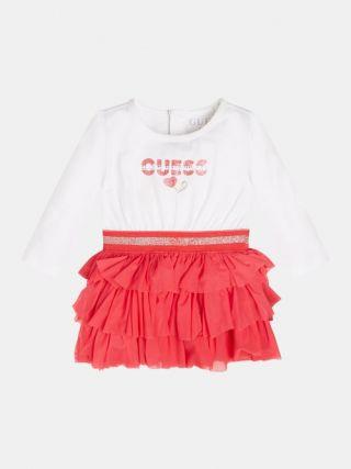 Guess Детска рокля с харбали и надпис