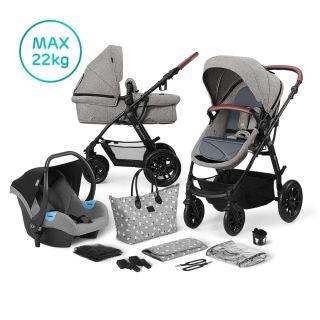 Бебешка количка 3в1 KinderKraft Xmoov, Сива