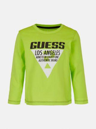 Детска бяла тениска с камъни и лого за момиче, Guess