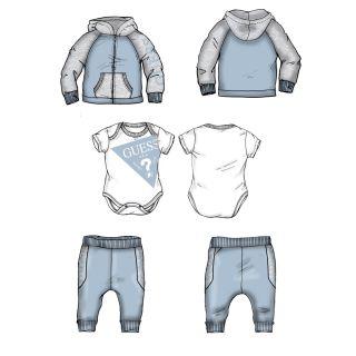 Guess бебешки спортен комплект 3 части за момче, сив/син