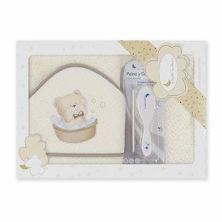 Interbaby комплект бебешка хавлия + гребен и четка за коса Мече,беж