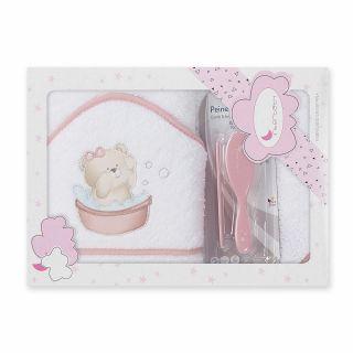 Interbaby комплект бебешка хавлия + гребен и четка за коса Мече,розов