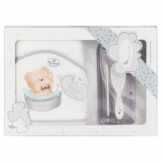 nterbaby бебешка хавлия 100x100см+ гребен и четка за коса Мече, бял