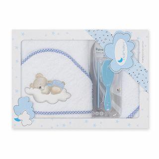 Interbaby комплект бебешка хавлия + гребен и четка за коса Спящо мече,син
