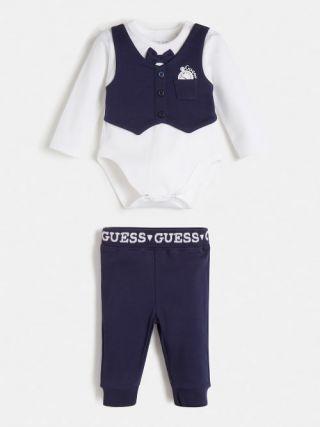 Guess бебешки комплект - боди с папийонка и панталон с надписи Guess
