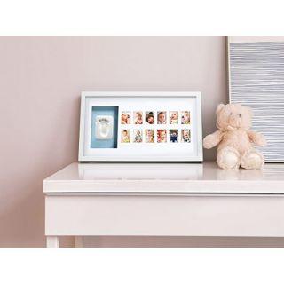 Pearhead Луксозна рамка за 12 снимки и отпечатък с двустранно паспарту - син/розов