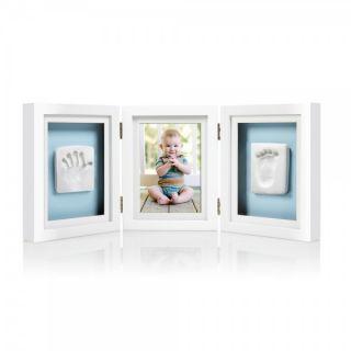 Pearhead Луксозна бяла рамка за снимка и отпечатък с двустранно паспарту