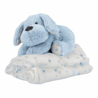 Подаръчен комплект бебешко одеяло с играчка Кученце, син