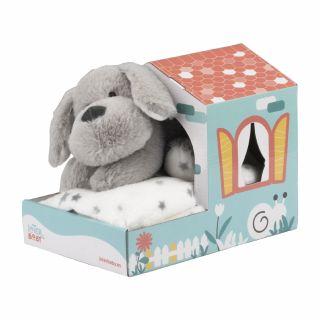 Interbaby Подаръчен комплект бебешко одеяло с играчка Кученце, сив