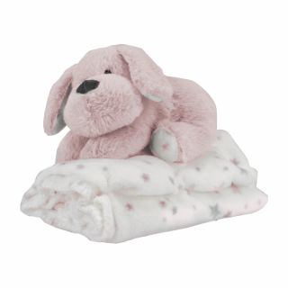 Бебешко одеяло с играчка Кученце, розов