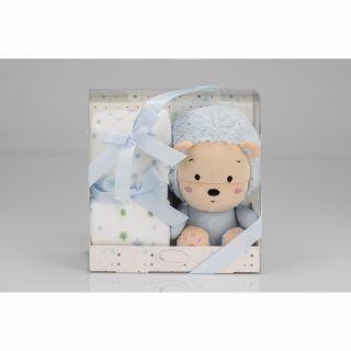 Interbaby Подаръчен комплект одеяло 80х110см с играчка синьо Лъвче 26см