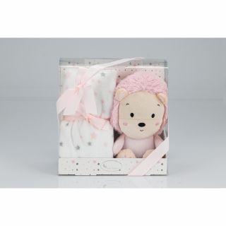 Interbaby Подаръчен комплект одеяло 80х110см с играчка розово Лъвче 26см