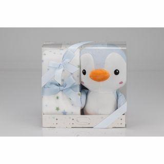 Interbaby одеяло 80х110см с играчка син Пингвин 25см