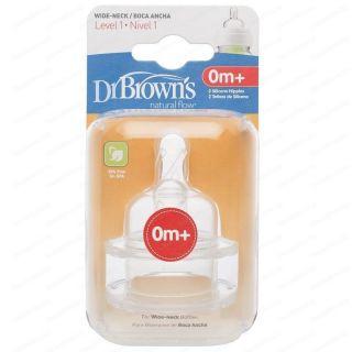 Dr.Brown Natural Flow Широки биберони за хранене Силикон Размер 1,2,3,4 (2 бр/оп)