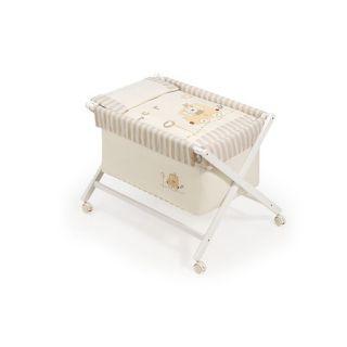 Interbaby Бебешко сгъваемо дървено креватче Влакче+сп.комплект+матрак,55 х 90 х 72 см