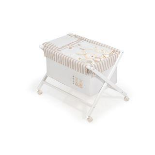 Комплект Interbaby Rabbits And Dots, Сгъваема дървена кошара, Спален комплект и матрак, 55 х 90 х 72 см, Бял