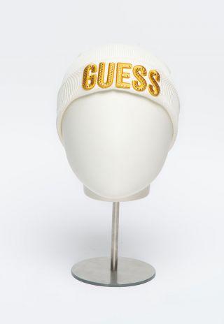 Guess детска шапка за момиче с надпис и камъни Бяла