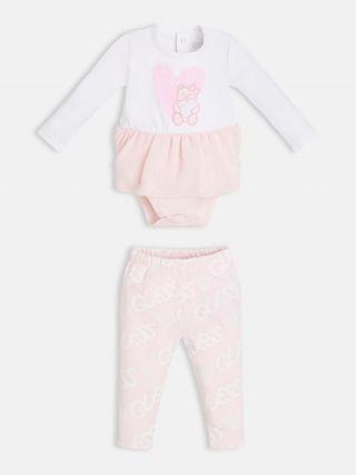 Guess Подаръчен комплект за момиче- бебешко боди с харбали и клин Bear