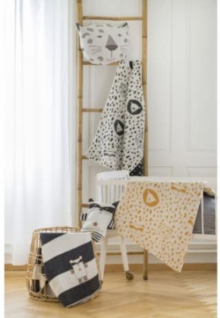 David Fussenegger Двулицево бебешко одеяло Juwel 70x90 Енот, Сиво