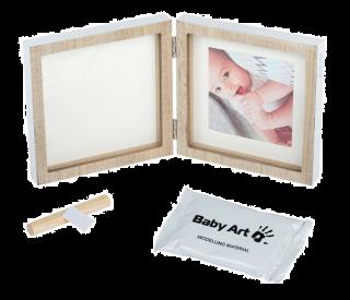 Baby Art My Baby Style Отпечатък + снимка - рамка в цвят дърво, бяло паспарту