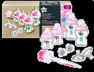 Tommee Tippee Стартер Комплект за новородено + четка за шишета Розов