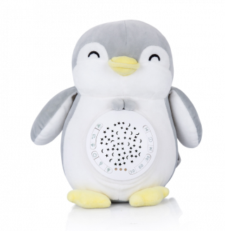 Chipolino Успокояваща плюшена играчка с проектор и музика Пингвин