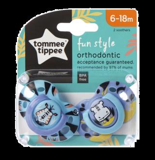 Tommee Tippee Ортодонтични залъгалки Fun Style Зебра/Хипо, 6-18м, 2 бр./оп.