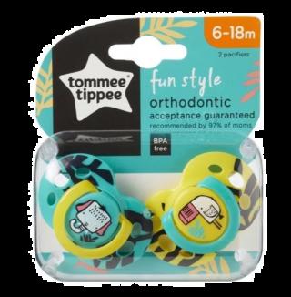 Tommee Tippee Ортодонтични залъгалки Fun Style Слон/Тукан, 6-18м, 2 бр./оп.