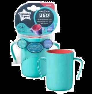 Tommee Tippee Неразливаща се преходна чаша 360° с дръжки 200ml, 6м+, синя