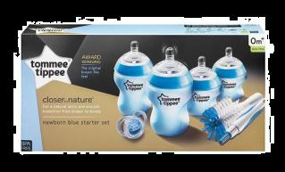 Tommee Tippee Стартер Комплект за новородено + четка за шишета Син
