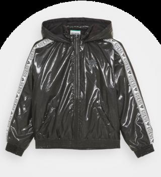 Guess детско черно брандирано яке с качулка