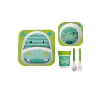 Interbaby комплект детски прибори за хранене 5 части Eco-Friendly Bamboo Hippo