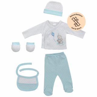 Interbaby бебешки комплект за изписване 5 части Elefante бамбук, син