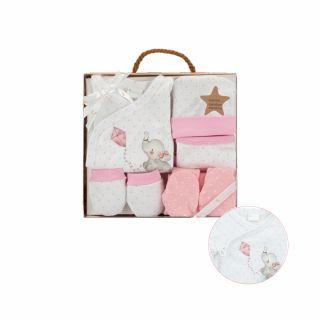 Interbaby бебешки комплект за изписване 5 части Elefante бамбук, розов