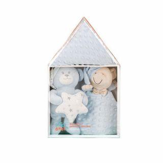 Interbaby подаръчен комплект Одеяло с Играчка Мече и Кърпа за писпиване, син
