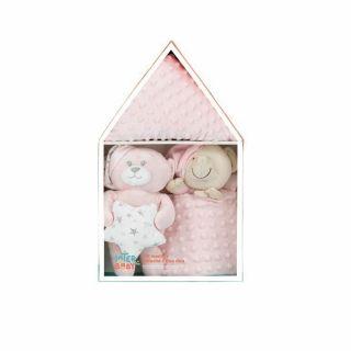 Interbaby подаръчен комплект Одеяло с Играчка Мече и Кърпа за приспиване, розов