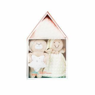 Interbaby подаръчен комплект Одеяло с Играчка Мече и Кърпа за приспиване, беж