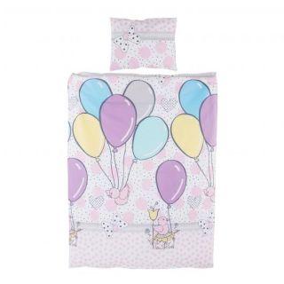 Chipolino Спален детски комплект 5 части за легло, розови балони
