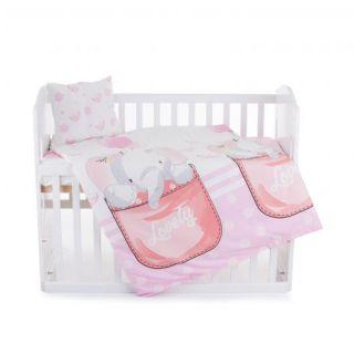 Chipolino Спален детски комплект 5 части за легло, розово слонче
