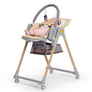 Детско столче за хранене/шезлонг 2в1, KinderKraft LASTREE, дървесно
