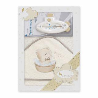 Interbaby бебешка хавлия 100х100см + термометър Мече, беж